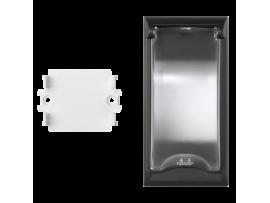 Kryt s vekom SIMON 500 pre 2pólové zariadenia do podlahových krabíc 100×50mm grafitovo-sivá