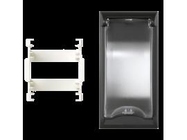 Kryt s vekom SIMON 500 pre 2pólové zariadenia 100×50mm grafitovo-sivá