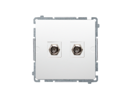 """Anténna zásuvka na """"F"""" konektor dvojitá biela"""