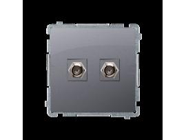 """Anténna zásuvka na """"F"""" konektor dvojitá nerez, metalizovaný"""