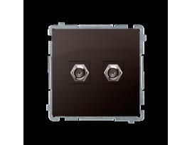 """Anténna zásuvka na """"F"""" konektor dvojitá čokoládový mat. metalizovaný"""