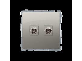 """Anténna zásuvka na """"F"""" konektor dvojitá saténový, metalizovaný"""