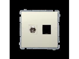 """Anténna zásuvka na """"F"""" konentor + počítačová RJ45 kat. 6 béžový"""