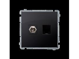 """Anténna zásuvka na """"F"""" konentor + počítačová RJ45 kat. 6 grafit mat. metalizovaný"""