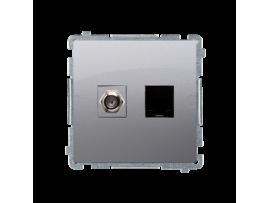 """Anténna zásuvka na """"F"""" konentor + počítačová RJ45 kat. 6 strieborná matná"""