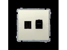 Zásuvka HDMI + počítačová RJ45 kat. 6 béžový