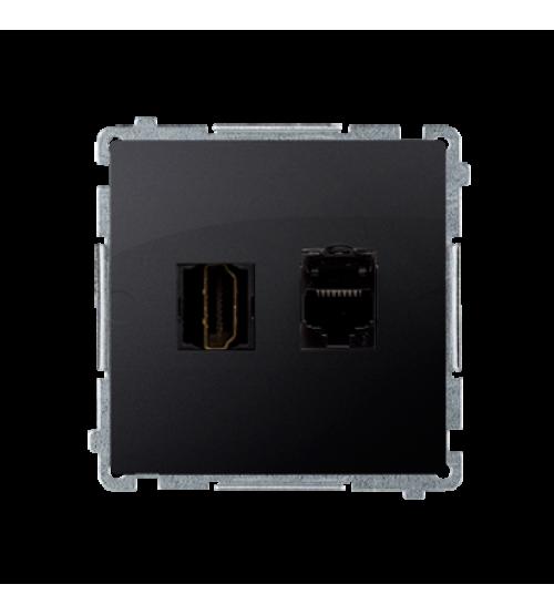 Zásuvka HDMI + počítačová RJ45 kat. 6 grafit mat. metalizovaný