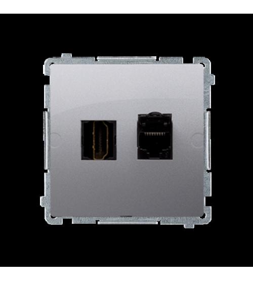 Zásuvka HDMI + počítačová RJ45 kat. 6 strieborná matná