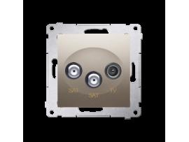Anténna zásuvka SAT-SAT-RTV dvojitá satelitná tlm.:1dB zlatá matná