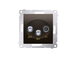 Anténna zásuvka SAT-SAT-RTV dvojitá satelitná tlm.:1dB hnedá matná