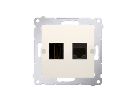 Zásuvka HDMI + počítačová RJ45 kat. 6 krémová