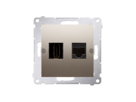 Zásuvka HDMI + počítačová RJ45 kat. 6 zlatá matná