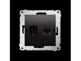Zásuvka HDMI + počítačová RJ45 kat. 6 antracitová
