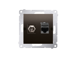 "Anténna zásuvka na ""F"" konentor + počítačová RJ45 kat. 6 hnedá matná"