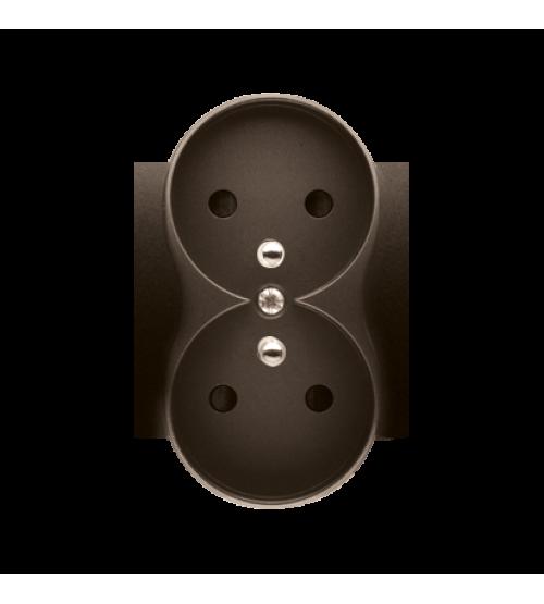 Kryt dvojitej zásuvky s uzemnením - do rámčekov PREMIUM hnedá matná