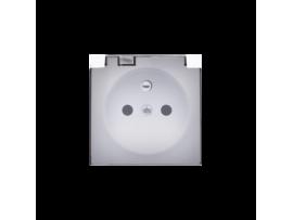 Kryt zásuvky s uzemnením - pre verziu IP44 - klapka priehľadnej farby biela