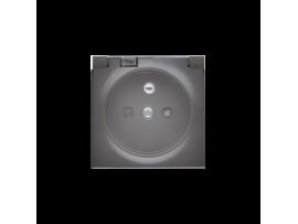 Kryt zásuvky s uzemnením - pre verziu IP44 - klapka priehľadnej farby antracitová