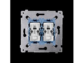 Striedavý prepínač dvojitý s orientačným podsvietením, radenie č. 6 So+6 So (prístroj) 10AX 250V, pružinové svorky,