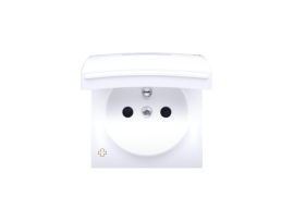 Kryt zásuvky s uzemnením - pre verziu IP44 - klapka vo farbe krytu antibakteriálna biela