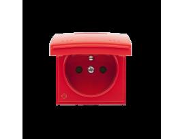 Kryt zásuvky s uzemnením - pre verziu IP44 - klapka vo farbe krytu antibakteriálny červený