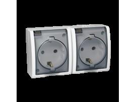 Zásuvka dvojitá s uzemnením typu Schuko - krytie IP54 - krycia klapka v transparentnej farbe biela 16A