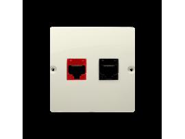 Počítačová zásuvka RJ45 kategórie 5e + telefonické RJ12 (prístroj s krytom) béžový