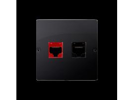 Počítačová zásuvka RJ45 kategórie 5e + telefonické RJ12 (prístroj s krytom) grafit mat. metalizovaný