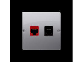 Počítačová zásuvka RJ45 kategórie 5e + telefonické RJ12 (prístroj s krytom) strieborná matná