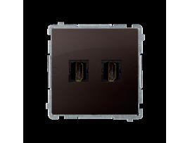 Zásuvka HDMI dvojitá čokoládový mat. metalizovaný