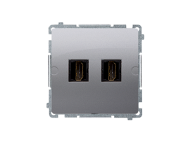 Zásuvka HDMI dvojitá strieborná matná