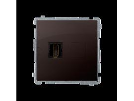 Zásuvka HDMI jednoduchá čokoládový mat. metalizovaný