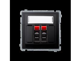 Reproduktorová zásuvka 2-násobné s popisným poľom grafit mat. metalizovaný