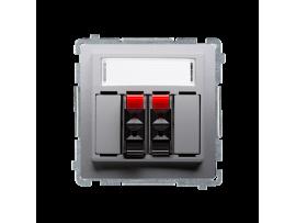 Reproduktorová zásuvka 2-násobné s popisným poľom strieborná matná