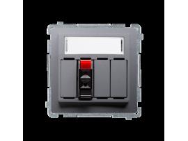 Reproduktorová zásuvka 1-násobná s popisným poľom nerez, metalizovaný