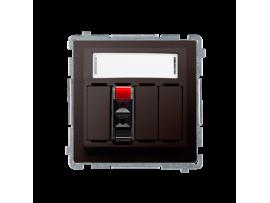 Reproduktorová zásuvka 1-násobná s popisným poľom čokoládový mat. metalizovaný