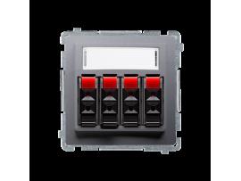 Reproduktorová zásuvka 4-násobné s popisným poľom nerez, metalizovaný