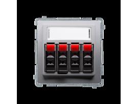 Reproduktorová zásuvka 4-násobné s popisným poľom strieborná matná
