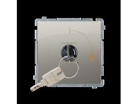 """Jednopólový spínač na kľúčik - 2 pozíciový """"0-I"""" (prístroj s krytom) 5A 250V, pre spájkovanie, saténový, metalizovaný"""