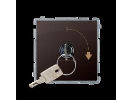 """Jednopólový spínač na kľúčik - 2 pozíciový """"0-I"""" (prístroj s krytom) 5A 250V, pre spájkovanie, čokoládový mat. metalizovaný"""