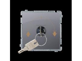 """Spínač na kľúčik žaluziový 3 polohový """"I-0-II"""" (prístroj s krytom) 5A 250V, pre spájkovanie, nerez, metalizovaný"""
