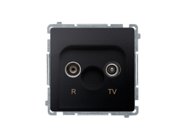 Anténna zásuvka R-TV ukončená do priechodných zásuviek tlm.:10dB grafit mat. metalizovaný