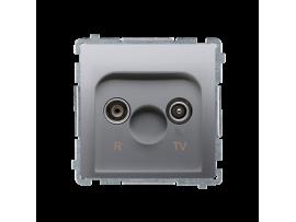 Anténna zásuvka R-TV ukončená do priechodných zásuviek tlm.:10dB strieborná matná