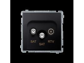 Anténna zásuvka SAT-SAT-RTV dvojitá satelitná tlm.:1dB grafit mat. metalizovaný