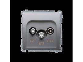 Anténna zásuvka SAT-SAT-RTV dvojitá satelitná tlm.:1dB strieborná matná