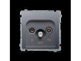 Anténná zásuvka R-TV-SAT priechodná tlm.:10dB nerez, metalizovaný