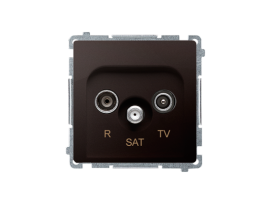 Anténná zásuvka R-TV-SAT priechodná tlm.:10dB čokoládový mat. metalizovaný