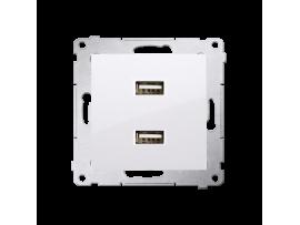 Dvojitá USB nabíjačka biela 2,1A