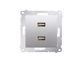 Dvojitá USB nabíjačka strieborná matná 2,1A
