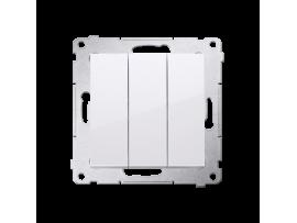 Trojitý vypínač s podsvietením (prístroj s krytom) 10AX 250V, pružinové svorky, biela