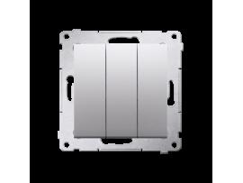 Trojitý vypínač s podsvietením (prístroj s krytom) 10AX 250V, pružinové svorky, strieborná matná